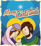 Holy Family Postcard, Vector Illustration Royalty Free Stock Photo