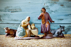 The holy family in a rustic nativity scene Royalty Free Stock Photo