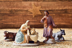The holy family in a rustic nativity scene Stock Photography