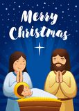 Holy family scene, Christmas nativity greeting card stock illustration