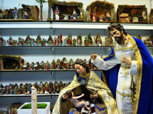 Holy Family, Small figures of Belen, Christmas market Stock Photography