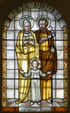 Holy Family. Stained glass in Basilica Assumption of the Virgin Mary, Marija Bistrica, Croatia Royalty Free Stock Image