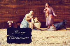 Holy family and text merry christmas Stock Photos
