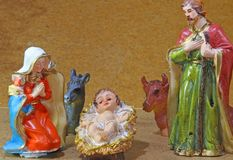 Holy Family in the tradition of Christmas with animal farm Stock Images