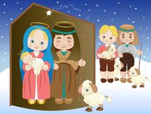 Holy Family and two crib shepherds with sheep vector illustration