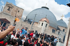 Holy Fire at the Holy Sepulcher Stock Images