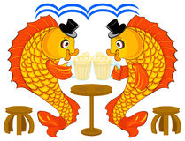 Holy fisherman. Fishes behind a table in a bar with mugs Stock Photography