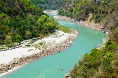 Holy Ganges river flows in a valley, India Royalty Free Stock Photo