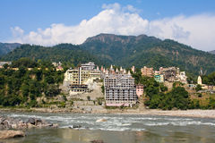 Holy Ganges river in Rishikesh, India. Stock Photos