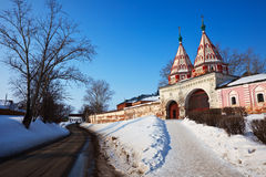 Holy gate of Rizopolozhensky monastery Royalty Free Stock Image