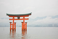 Holy gate  Torii  at Miyajima islands Stock Image