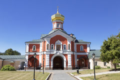 Holy gates with gate Church of St. Philipp the Metropolitan of Moscow in the Valday Iversky Svyatoozerskaya mother of God monaster Royalty Free Stock Image