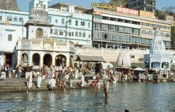 1977. India. A holy ghat, at the banks of Ganges. The picture shows a ghat, where Hindu pilgrims are carry out their praying Royalty Free Stock Image