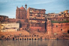 Holy ghat of varanasi, dead city Royalty Free Stock Photo
