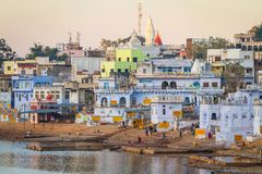 Holy ghats at sacred Sarovar lake in Pushkar Royalty Free Stock Photo