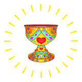 Holy Grail and the sun. Holy Grail, legendary mystical bowl in an environment of solar beams Royalty Free Stock Photography