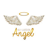 Holy guardian angel. Over white background vector illustration Stock Photos
