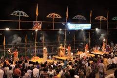 Holy Hindu Ceremony in Varanasi Stock Photo