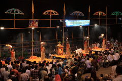Holy Hindu Ceremony in Varanasi Stock Photo