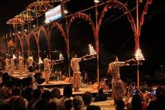 Holy Hindu Ceremony in Varanasi Stock Image