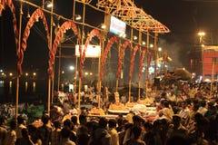 Holy Hindu Ceremony in Varanasi Stock Photography