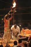Holy Hindu Ceremony in Varanasi Royalty Free Stock Photo