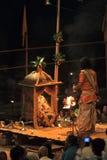 Holy Hindu Ceremony in Varanasi Stock Photos