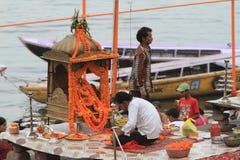 Holy Hindu Ceremony in Varanasi Royalty Free Stock Photography