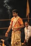 Holy Hindu Ceremony in Varanasi Royalty Free Stock Images