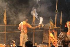 Holy Hindu Ceremony in Varanasi Royalty Free Stock Image