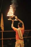 Holy Hindu Ceremony in Varanasi Stock Images