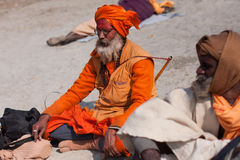 Holy hindu man Sadhu prays Stock Image
