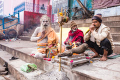 Holy Hindu Sadhu. KUSHINAGAR, INDIA Royalty Free Stock Photography