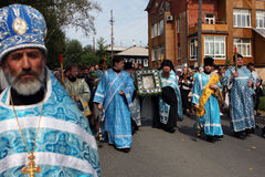 Holy icon. Russia. Tomsk. Orthodox procession through the city carries the holy icon Royalty Free Stock Image