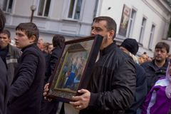 Holy icon carrying procession Stock Image