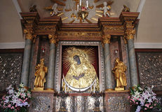 Holy icon of Mother of God Ostrobramska in Vilnius, Lithuania. Holy icon of Mother of God, Gate of DawnView from the Gate of Dawn(Ostra Brama) in Vilnius Stock Photo
