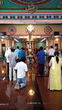 Holy Indian prayers pray in hindu temple Stock Image