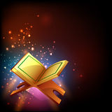 Holy Islamic Book Quran Shareef for Ramadan Kareem celebration. Islamic religious book Quran Shareef on shiny colorful background for holy month of Muslim Royalty Free Stock Photo