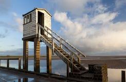 Holy Island, Causeway. Safety Shelter. Northumberland. England.UK Royalty Free Stock Photo