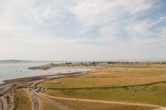Holy Island or Lindisfarne harbour on Northumberland Coast Royalty Free Stock Images