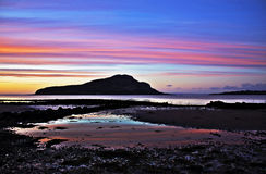 Holy Isle at Dawn. Taken from Lamlash at dawn. Isle of Arran, Scotland royalty free stock photos