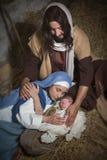 Holy Jesus in nativity scene Royalty Free Stock Photos