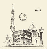 Holy Kaaba Mecca muslim illustration drawn sketch Royalty Free Stock Photo