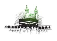 Holy Kaaba in Mecca Saudi Arabia, Hand Drawn Sketch Vector. Illustration Stock Images