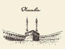 Holy Kaaba Mecca Saudi Arabia muslim drawn. Royalty Free Stock Photo