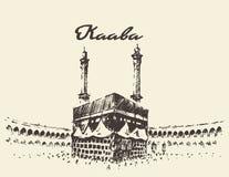 Holy Kaaba Mecca Saudi Arabia muslim drawn sketch. Holy Kaaba in Mecca Saudi Arabia with muslim people, vintage engraved illustration, hand drawn, sketch Royalty Free Stock Photography