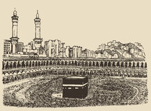 Holy Kaaba Mecca Saudi Arabia muslim people sketch Stock Images