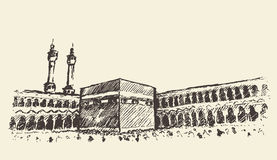 Holy Kaaba Mecca Saudi Arabia muslim sketch Royalty Free Stock Photos