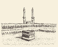 Holy Kaaba Mecca Saudi Arabia muslim sketch Royalty Free Stock Images