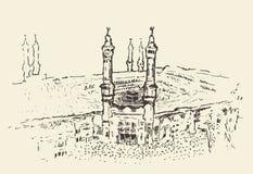 Holy Kaaba Mecca Saudi Arabia muslim vector drawn. Holy Kaaba in Mecca Saudi Arabia with muslim people vector engraved illustration hand drawn Stock Photography